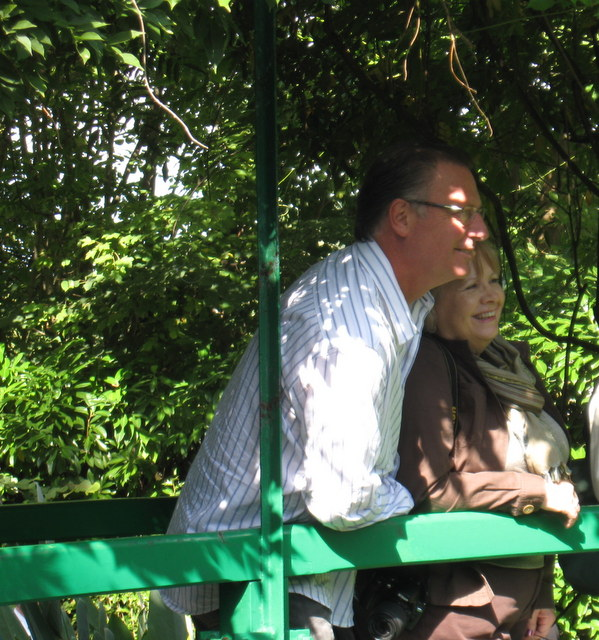 Kevin and Norma on the bridge of Monet's lily pond